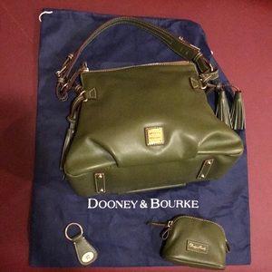 Dooney & Bourke olive green shoulder bag + extras